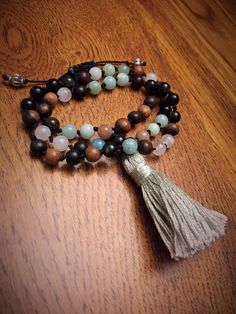 Hand Knotted Half Mala Prayer Beads with Gold by TheScentedSpirit