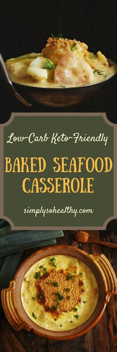 This Low-Carb #Baked #Seafood #Casserole Recipe is a creamy baked main course with shrimp and cod. This delicious recipe can work for #lowcarb, #keto, #glutenfree, #grainfree, #Atkins, #diabetic, or #Banting diets.