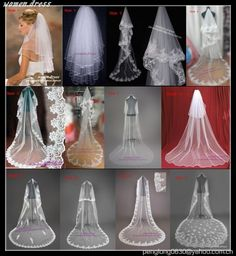 New 12 Styles White/Ivory Wedding Veils Bridal Cathedral Veil Comb Free Shipping   eBay
