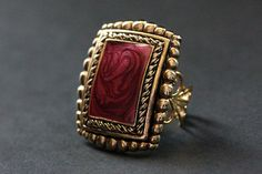 Magenta Cloisonne Ring. Rectangular Ring. Gold Filigree Cocktail Ring. Adjustable Ring. Handmade Jewelry, $20.00