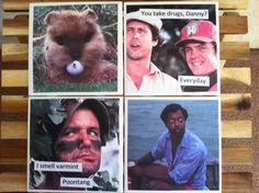 Caddyshack novelty coasters Set of four Funny by KDavidsonStudios, $22.00