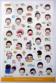 Cute Momoi Plastic Stickers From Korea - Girl, Crying, Angry, Emotions, Boxing, Skipping Rope, Running, Pencil, Mirror, Camera, Bento Box