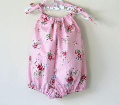 Baby girl romper pink floral gingham bubble rompers by SillyHorse