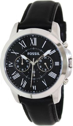 Fossil FS4812 Grant Chronograph Black Leather Watch < $85.72 > Fossil Watch Men