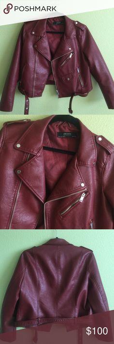 Maroon Zipper Motorcycle Biker Jacket by ZARA MAROON BIKER JACKET FOR WOMEN BY ZARA   SIZE: XL (WOMEN'S)   CONDITION: PREOWNED (LIKE-NEW! 10/10)   MATERIAL: VISCOSE, POLYESTER Zara Jackets & Coats