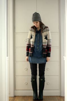 https://flic.kr/p/7Eov18 | i got spirit | I thought this would be an appropriate wardrobe remix given it's the Olympics and all... GO CANADA GO!  Denim Tunic: Gap Canadian Olympic Wool Sweater: Hudson's Bay Company Denim Leggings: H&M Toque: Joe Fresh Knee High Boot Socks: Joe Fresh Le Chameau Wellington Boots: Thrift Store