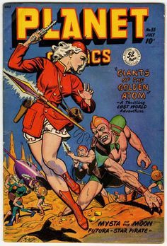 Cover scan of Planet Comics, No. Fiction House, July Cover by Joe Doolin. Sci Fi Comics, Old Comics, Vintage Comics, Science Fiction Books, Pulp Fiction, Comic Book Covers, Comic Books Art, Planet Comics, Arte Sci Fi