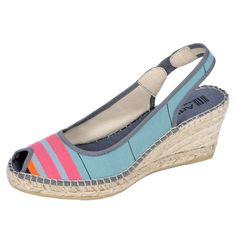Chaussures compensées Biron  Chaussures en toile transat doublée cuir à talon compensé avec semelle de corde recouverte de tissu.