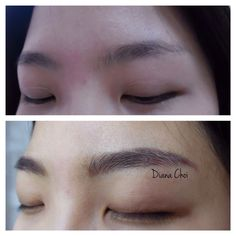 Love to see her clear hair stroke technic. Looks like her real brows. Semipermanent eyebrows tattoo. It's the newest style of eyebrows tattoo calls 3D tattoo/ hair stroke tattoo.  Korean style eyebrows/ covered customer's old eyebrows tattoo