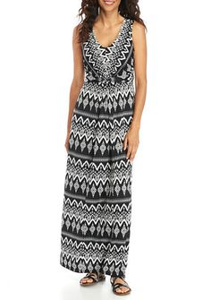 Kim Rogers® Petite Size V-Neck Maxi Knot Front Tie Back Dress