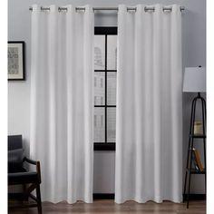 "Set Of 2 (108""x54"") Loha Linen Grommet Top Light Filtering Curtain Panel Winter - Exclusive Home : Target Outdoor Curtains, Long Curtains, Grommet Curtains, White Curtains, Window Curtains, Bedroom Curtains, Country Curtains, Linen Curtain, Glam Bedroom"