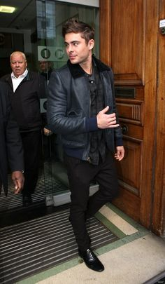 Keep yourself warm this winter - Zac Efron leather jacket.