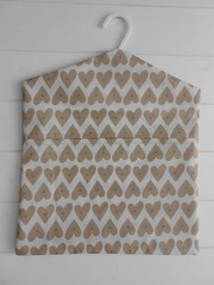 Handmade Oilcloth Peg Bag in Next  Natural Heart  Fabric