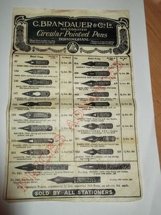 """A vintage price list from C. BRANDAUER of Birmingham UK. Size: 10"""" x 6.5"""" Undated, but knowing where it came from and the prices it shows it is probably over 60yrs old It has a couple of creases and slight yellowing but no tears or breaks. Delivery: Royal Mail 2nd Class Europe: International Standard £4.00 