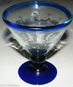 Antique Lovely Mexican Hand Blown Glass Cordial Dessert Cobalt Blue Authentic | eBay