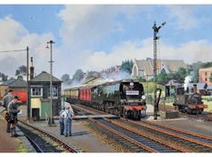 'Full Flight' A greeting card by Malcolm Root Transport Pictures, Nostalgic Art, Train Art, Railway Posters, Train Pictures, Bus Coach, Train Tickets, Steam Engine, Steam Locomotive