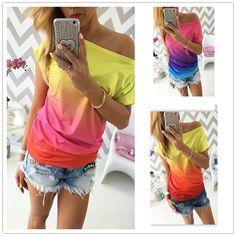 2016 zomer vrouwen t-shirt vestidos regenboog geleidelijke verandering print tops casual vrouwelijke