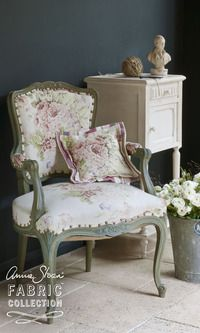 Charmant Faded Roses Fabric On Chair From The Annie Sloan Fabric Collection. Wall In  Graphite, Chair In Chateau Grey Chalk Paint™. Zinc Bucket Of Ranunculas  From Les ...