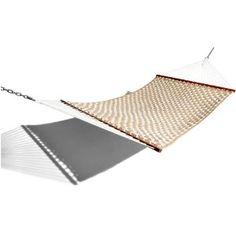 Strathwood Basics Soft Comb Quilted Fabric Hammock, Beige / White