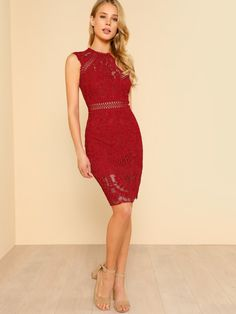 Shop Fitted Lace Overlay Dress RED online. SheIn offers Fitted Lace Overlay Dress RED & more to fit your fashionable needs.
