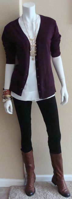 Daily Look: CAbi Fall '14 Ponte Legging, Allure Blouse and Billie Cardigan in Grape with a beautiful necklace from Stell & Dot and brown riding boots. http://nickidavis.cabionline.com