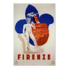 Firenze, Italia, poster de viagens do vintage por yesterdaysgirl