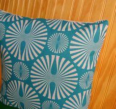 Aqua Pillow Cover - Mod Design- 16 Inch
