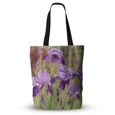 "Angie Turner ""Purple Irises"" Green Floral Everything Tote Bag"