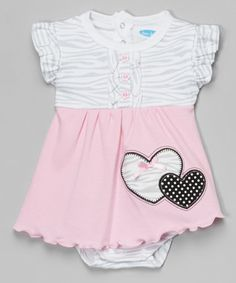 This Pink & Gray Zebra Angel-Sleeve Skirted Bodysuit by bon bébé is perfect! #zulilyfinds