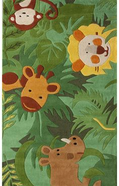 Rugs USA Cradle Safari Friends Green Rug. Use Coupon SPR50 to Save 50% OFF $226 - $440