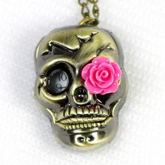 skull watch with pink rose