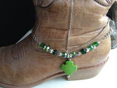 Boot Bracelet Boot Jewelry Boot Bling Green by celticbubblewands, $15.00