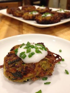Zucchini Parsnip Latkes recipe for Chanukah, or as some say, Hanukah - gluten free, dairy free, egg free, soy free, nut free, sugar free, soy free, vegan. These were inspired by the latkes from the Williams Sonoma catalog. Crispy as ever even without eggs! #chanukahfood