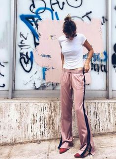 pink track pants