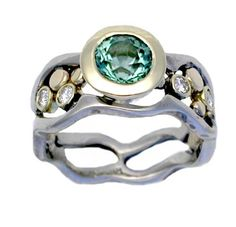 I love this ring! I wonder if she could do a thinner version??  14k and 18k Gold Wave and Pebbles Tapered Ring with Green Tourmaline