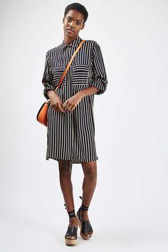 Oversized Stripe Shirt Dress - Topshop