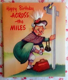 Vintage 1950s Birthday Greeting Card Gray Haired Woman in Hat ~ Rust Craft
