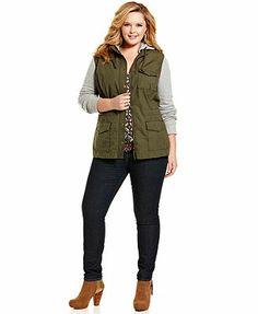 Lucky Brand Jeans Plus Size Hooded French-Terry Military Jacket & Three-Quarter-Sleeve Printed Top