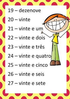 Cartaz dos números EM PDF - Atividades Adriana Professor, Language, Education, School, 1, Literacy Activities, Writing Numbers, Creative Teaching, Number Posters