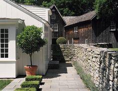 Bushes within patio/walkway