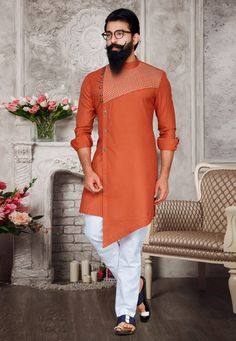 Coral orange ready made kurta pyjama set. Mens Wedding Wear Indian, Sherwani For Men Wedding, Mens Indian Wear, Punjabi Kurta Pajama Men, Kurta Men, Gents Kurta Design, Boys Kurta Design, Nigerian Men Fashion, Indian Men Fashion