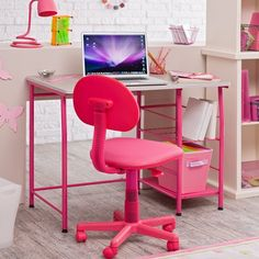 Kids Study Table In Pink