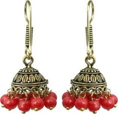 Waama Jewels Red Gold Plated for Womens Ear Wire Cluser Sparklys Party Wear Pearl Brass Jhumki Earring