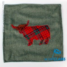 Nicolson Modern Tartan Highland Cow Cushion Cover. Free worldwide shipping available.