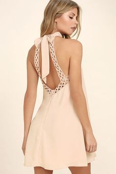 No matter where you wear it, the Any Sway, Shape, Or Form Blush Pink Lace Halter Dress will turn heads! Tying halter neckline tops a sleeveless lace bodice. Club Dresses, Short Dresses, Summer Dresses, Teen Dresses, Summer Fashions, Evening Dresses, Vestidos Halter, Blush Pink Dresses, The Dress