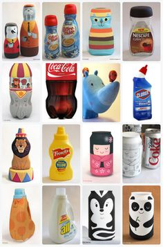The Motley Makery — DIY Inspiration! Painted Packaging by Eric. Easy Diy Crafts, Diy Arts And Crafts, Jar Crafts, Plastic Bottle Crafts, Diy Bottle, Soda Bottle Crafts, Soda Can Crafts, Bottle Painting, Recycled Crafts