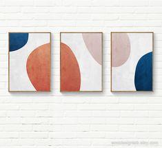 Abstract Circles Navy Blue, Blush, Burnt Orange Circles, Set of 3 Wall Art, Minimalist Modern Geometric Abstract Set Geometric Shapes Art, Abstract Geometric Art, Abstract Wall Art, Abstract Oil, Abstract Paintings, Oil Paintings, Painting Art, Watercolor Painting, Landscape Paintings