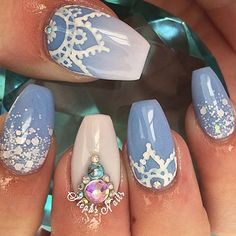 Blue Nails with Gems via Ocean themed nail arts are widespread all the 12 months round. The ocean manicure brings a contemporary vibe to your nails by utilizing blue polish pr. Get Nails, Fancy Nails, Hair And Nails, Fabulous Nails, Gorgeous Nails, Pretty Nails, Amazing Nails, Mandala Nails, Cute Nail Art