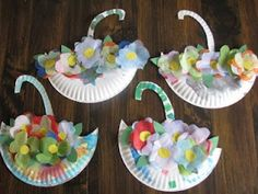 Flower basket craft from paper plates