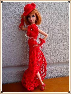 #Barbie #Doll #Cléa5 #Muñeca #Crochet #Vestido #Dress  #Chapéu #Sombrero #Hat #RaquelGaucha
